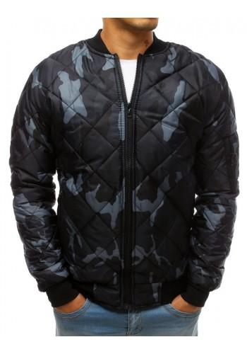 Tmavě modrá prošívaná bunda s maskáčovým vzorem pro pány