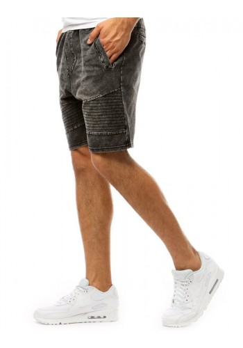 Černé módní kraťasy s riflovým vzhledem pro pány