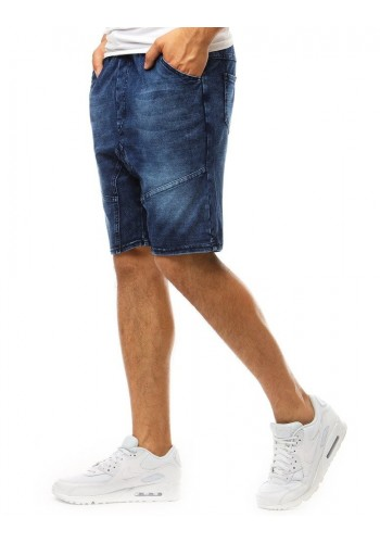 Pánské módní kraťasy s riflovým vzhledem v tmavě modré barvě