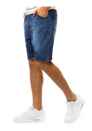 Tmavě modré stylové kraťasy s riflovým vzhledem pro pány