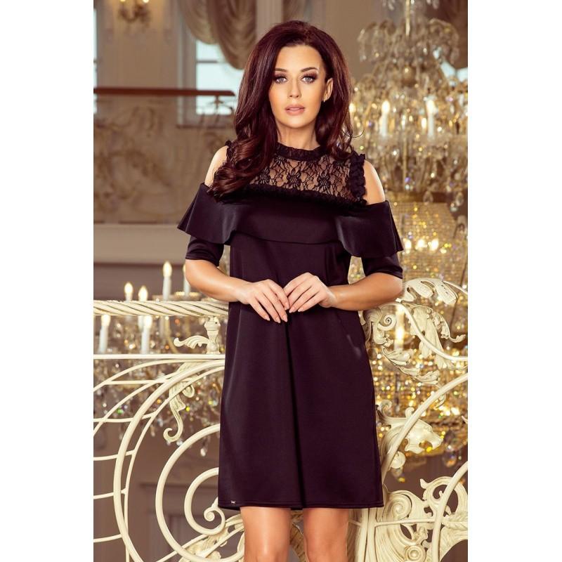 Volné dámské šaty černé barvy s krajkou