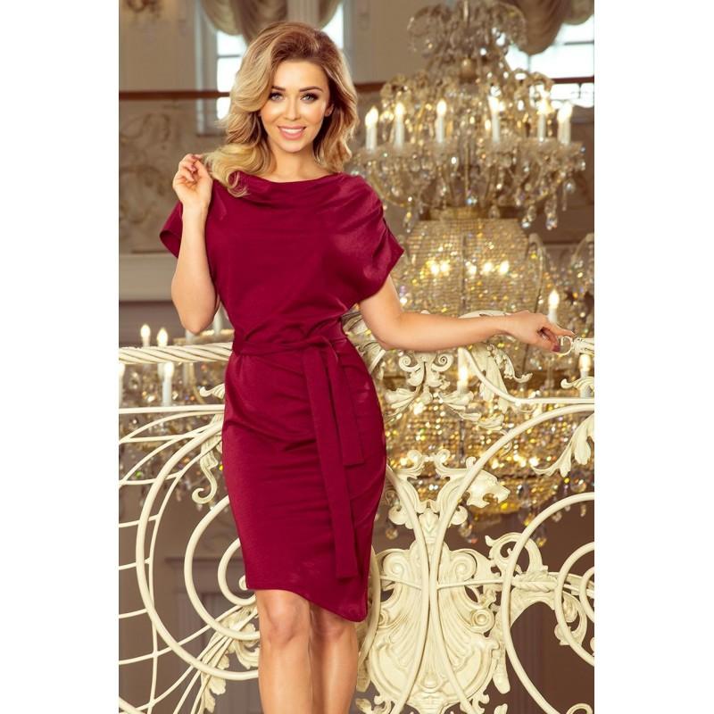 Bordové asymetrické šaty s páskem pro dámy