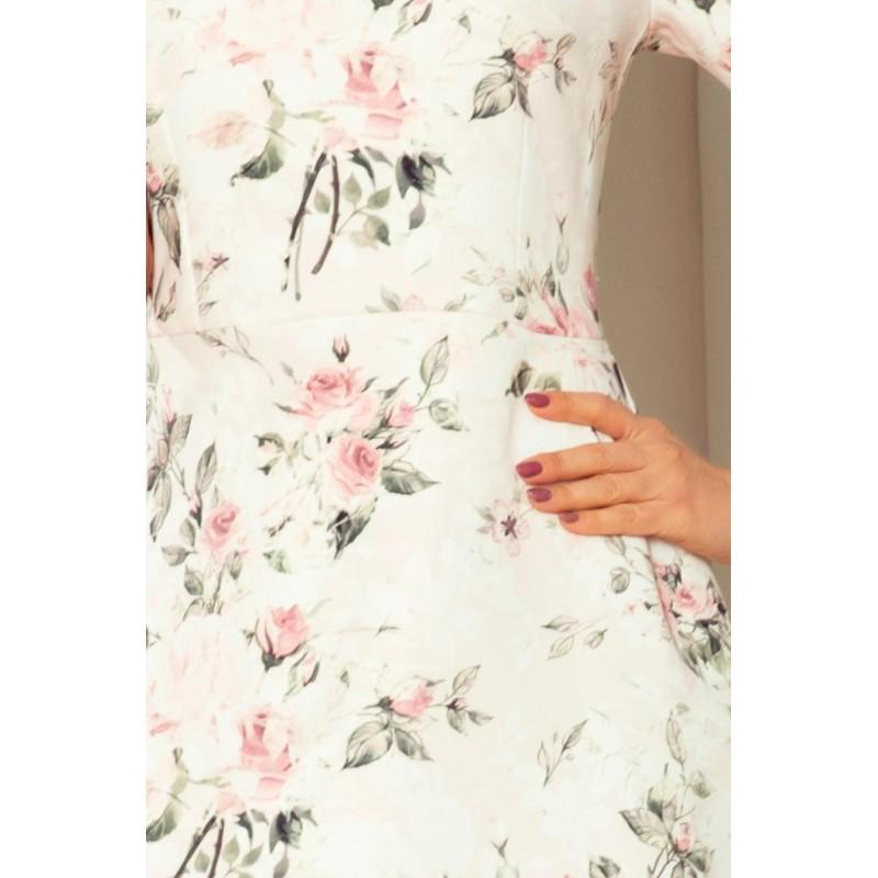 Dámské květované šaty s vázáním na rukávech v broskvové barvě