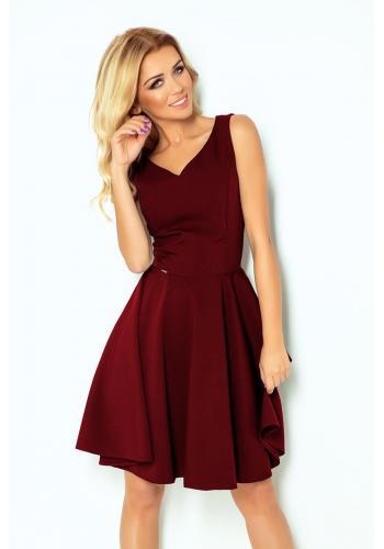 Šaty bordové barvy pro dámy se srdcovým výstřihem