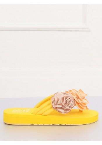 Žluté květované žabky na pěnové podrážce pro dámy