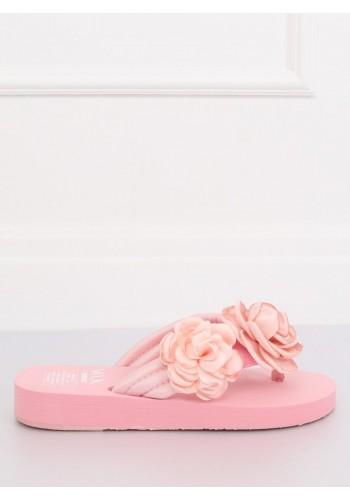 Květované dámské žabky světle růžové barvy na pěnové podrážce
