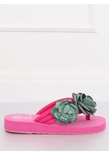 Dámské květované žabky na pěnové podrážce v růžové barvě