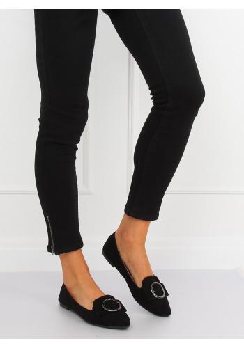 Černé elegantní mokasíny s ozdobnou přezkou pro dámy