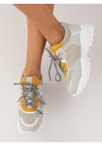 Šedo-žluté stylové tenisky na vysoké podrážce pro dámy