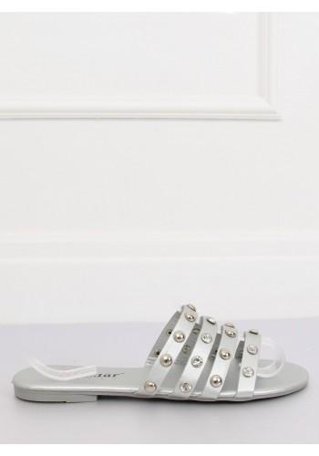 Módní dámské pantofle stříbrné barvy s kameny a vybíjením
