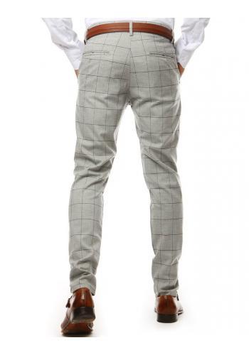 Světle šedé kostkované kalhoty pro pány