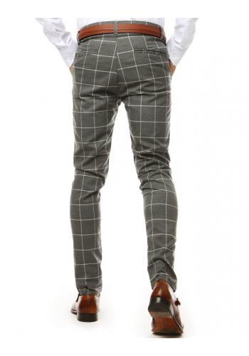 Kostkované pánské kalhoty tmavě šedé barvy