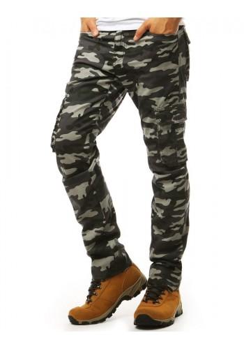 Tmavě šedé maskáčové kalhoty ve vojenském stylu pro pány
