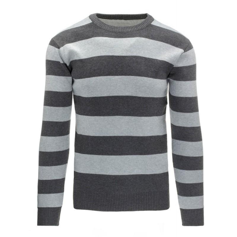 Pruhovaný pánský svetr v šedé barvě