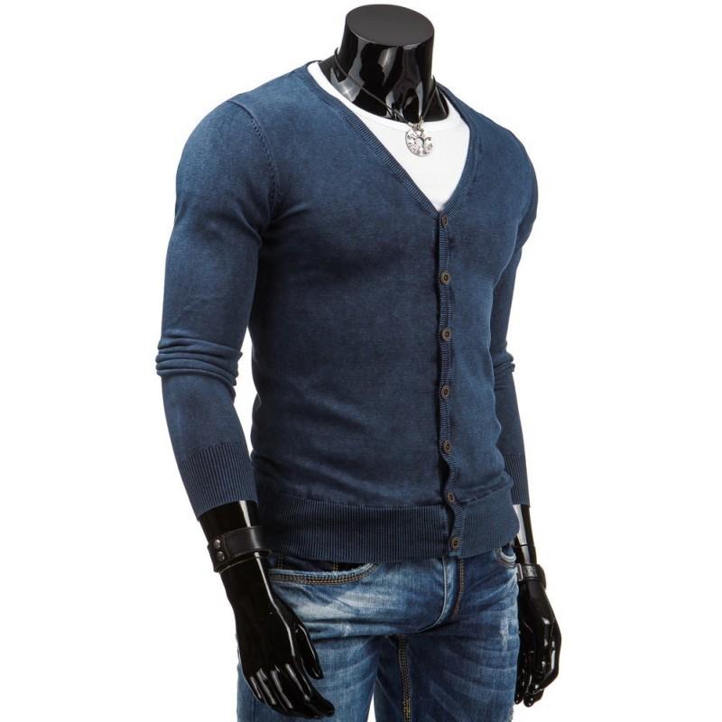 Modrý pánský svetr na zapínání s výstřihem V