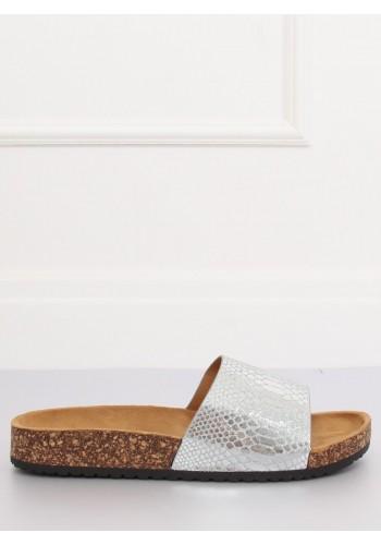 Dámské metalické pantofle na korkové podrážce ve stříbrné barvě