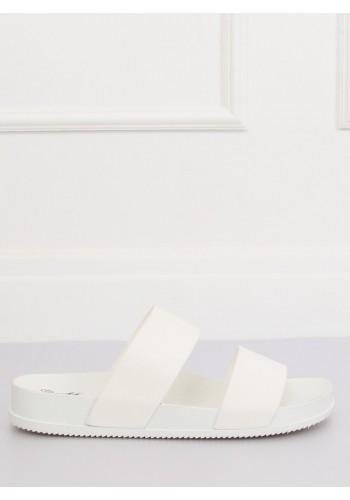 Dámské módní pantofle na gumové podrážce v bílé barvě