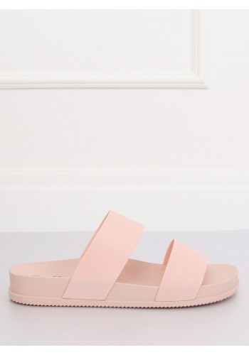 Růžové módní pantofle na gumové podrážce pro dámy