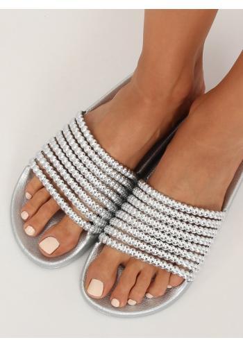 Dámské stylové pantofle s korálky ve stříbrné barvě