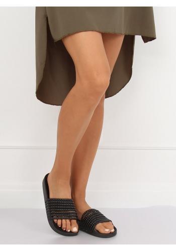 Stylové dámské pantofle černé barvy s korálky