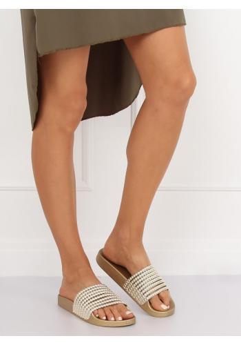 Zlaté stylové pantofle s korálky pro dámy