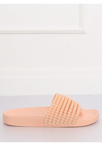 Dámské stylové pantofle s korálky v růžové barvě