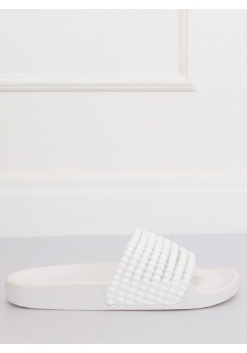 Stylové dámské pantofle bílé barvy s korálky