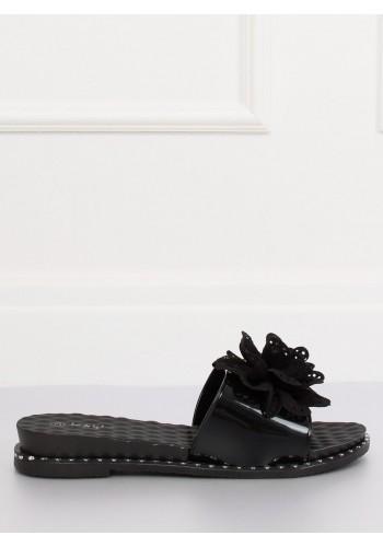 Černé gumové pantofle s květem pro dámy