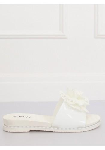 Dámské gumové pantofle s květem v bílé barvě