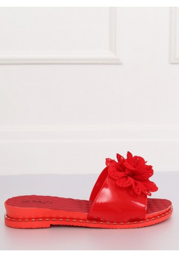 Gumové dámské pantofle červené barvy s květem