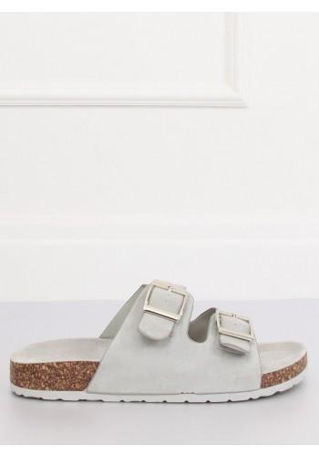 Šedé semišové pantofle na korkové podrážce pro dámy