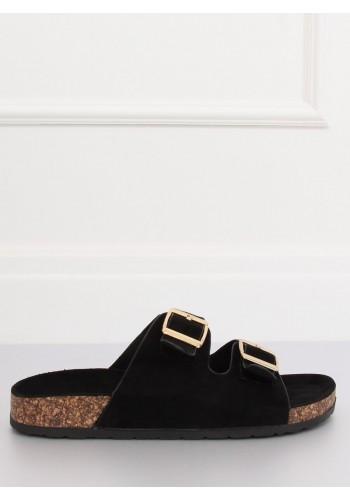 Dámské semišové pantofle na korkové podrážce v černé barvě
