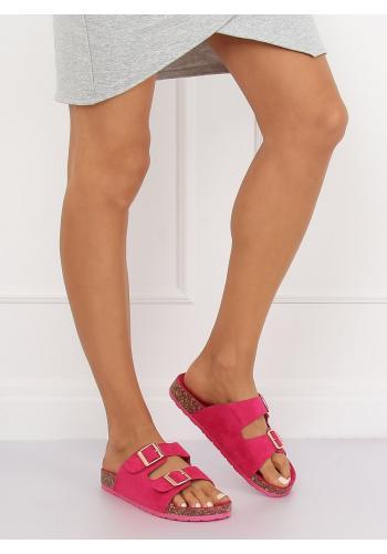 Semišové dámské pantofle růžové barvy na korkové podrážce
