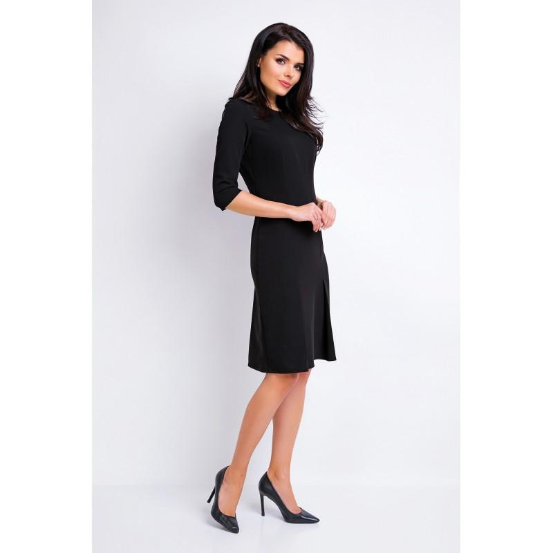 Dámské elegantní šaty černé barvy s 3/4 rukávem