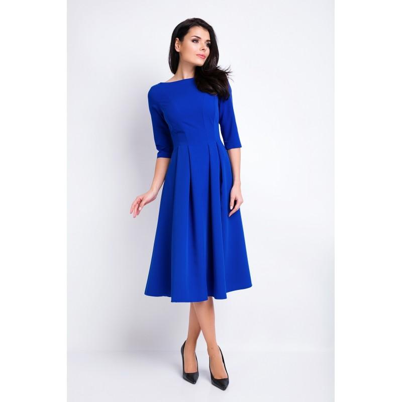Šaty s rozšířenou sukní v modré barvě