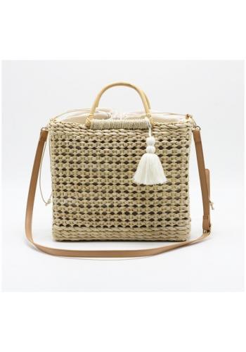 Béžová proutěná kabelka s vnitřní kapsou pro dámy