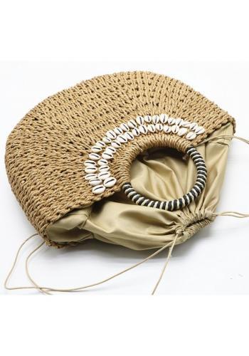 Dámská proutěná kabelka s mušlemi v hnědé barvě