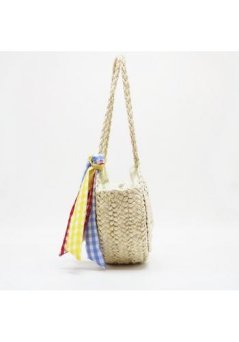 Béžová kulatá proutěná kabelka se šátkem pro dámy
