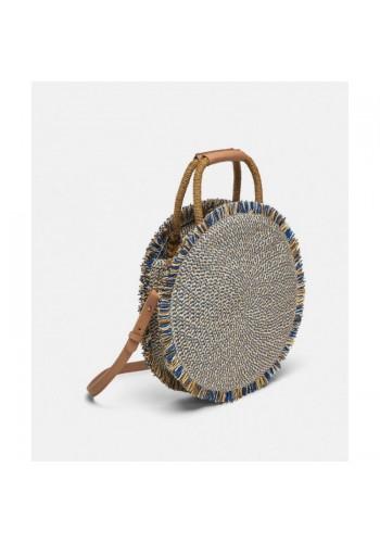 Kulatá kabelka modré barvy s třásněmi