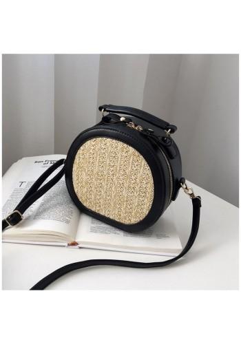 Dámská proutěná kabelka s ekokůží v černé barvě