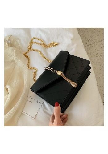 Elegantní dámská kabelka černé barvy se zlatými doplňky