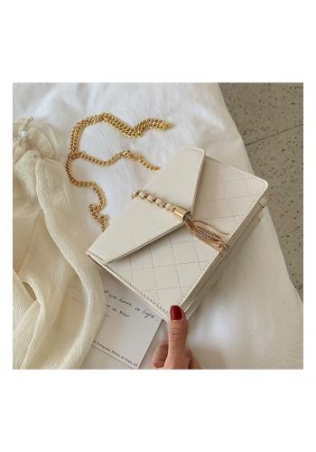 Bílá elegantní kabelka se zlatými doplňky pro dámy