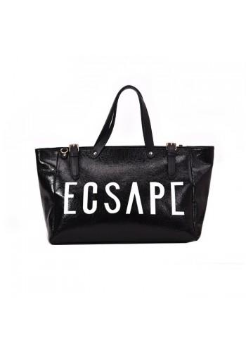 Nákupní dámská taška černé barvy s nápisem ESCAPE