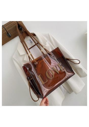 Průsvitná dámská taška hnědé barvy s nápisem LOVE