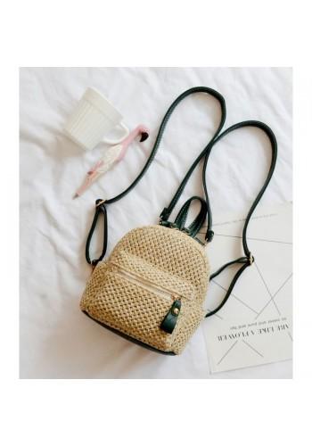 Proutěný mini batoh se zelenými detaily