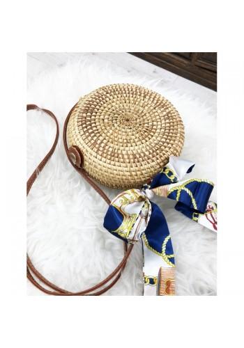 Dámská kulatá proutěná kabelka v hnědé barvě