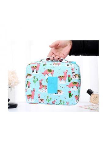 Kosmetická taška modré barvy s barevným potiskem