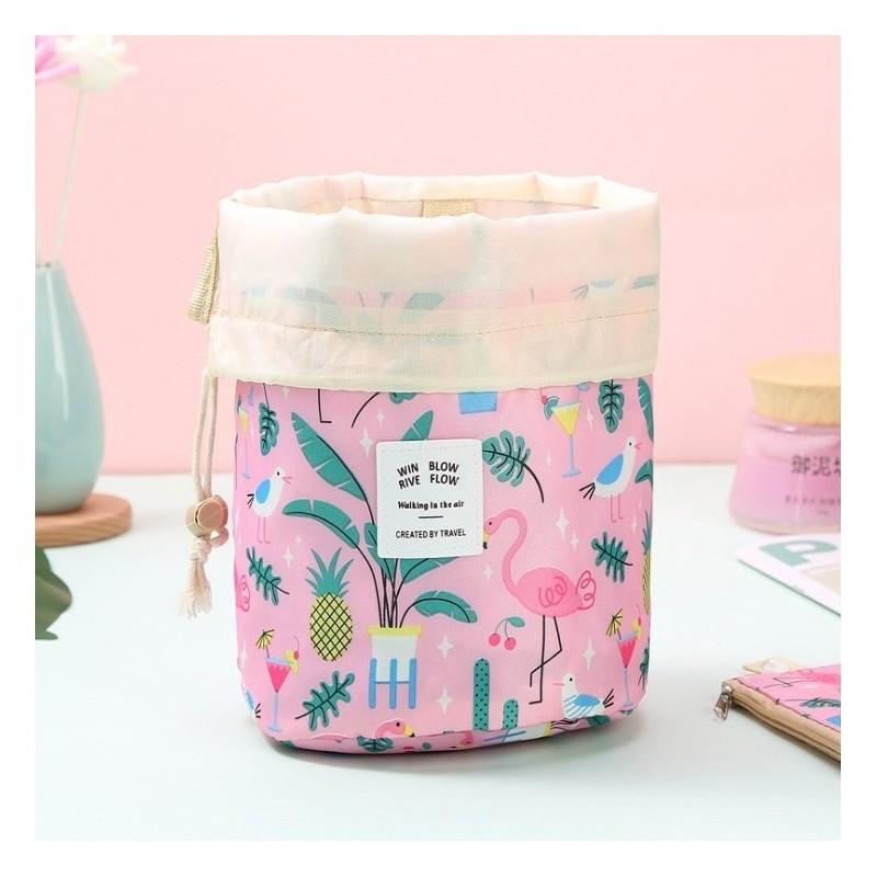 Růžová kosmetická kapsa s barevným potiskem