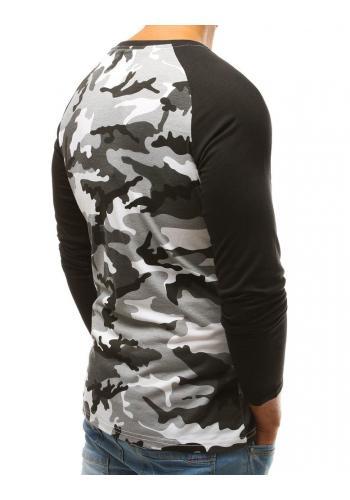 Černé maskáčové tričko s dlouhým rukávem pro pány