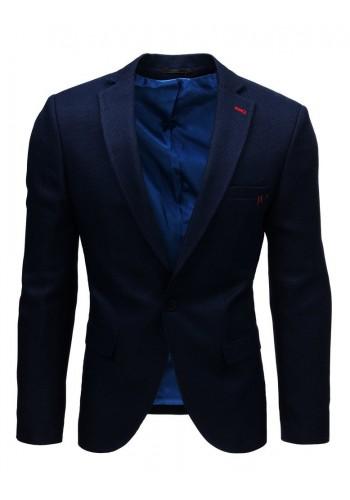 Neformální pánské sako tmavě modré barvy s jedním knoflíkem